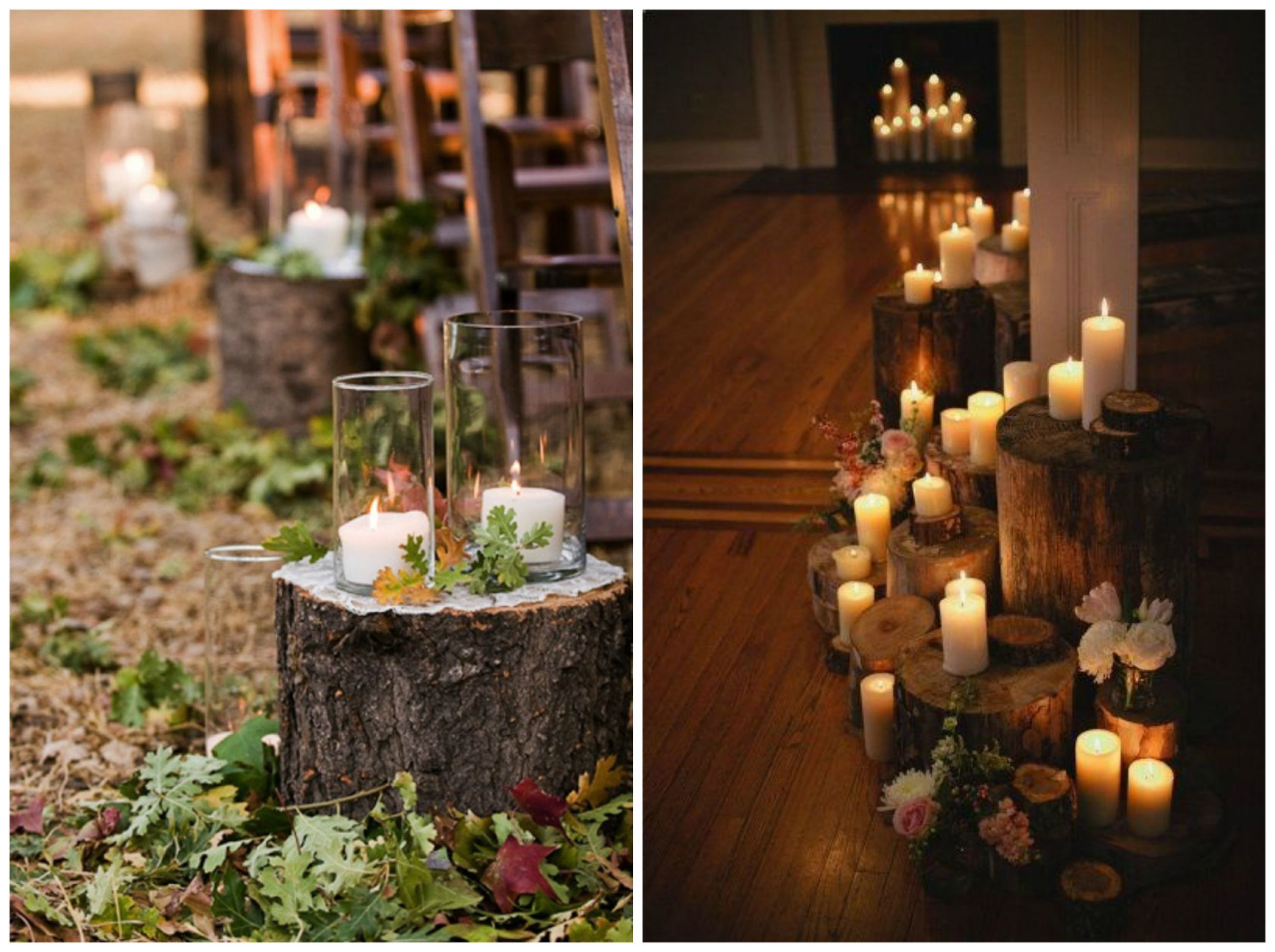 The Natural Wedding Company ;  Xaaza Style . Aisles lined with candles + logs are simple, yet they make such a statement!