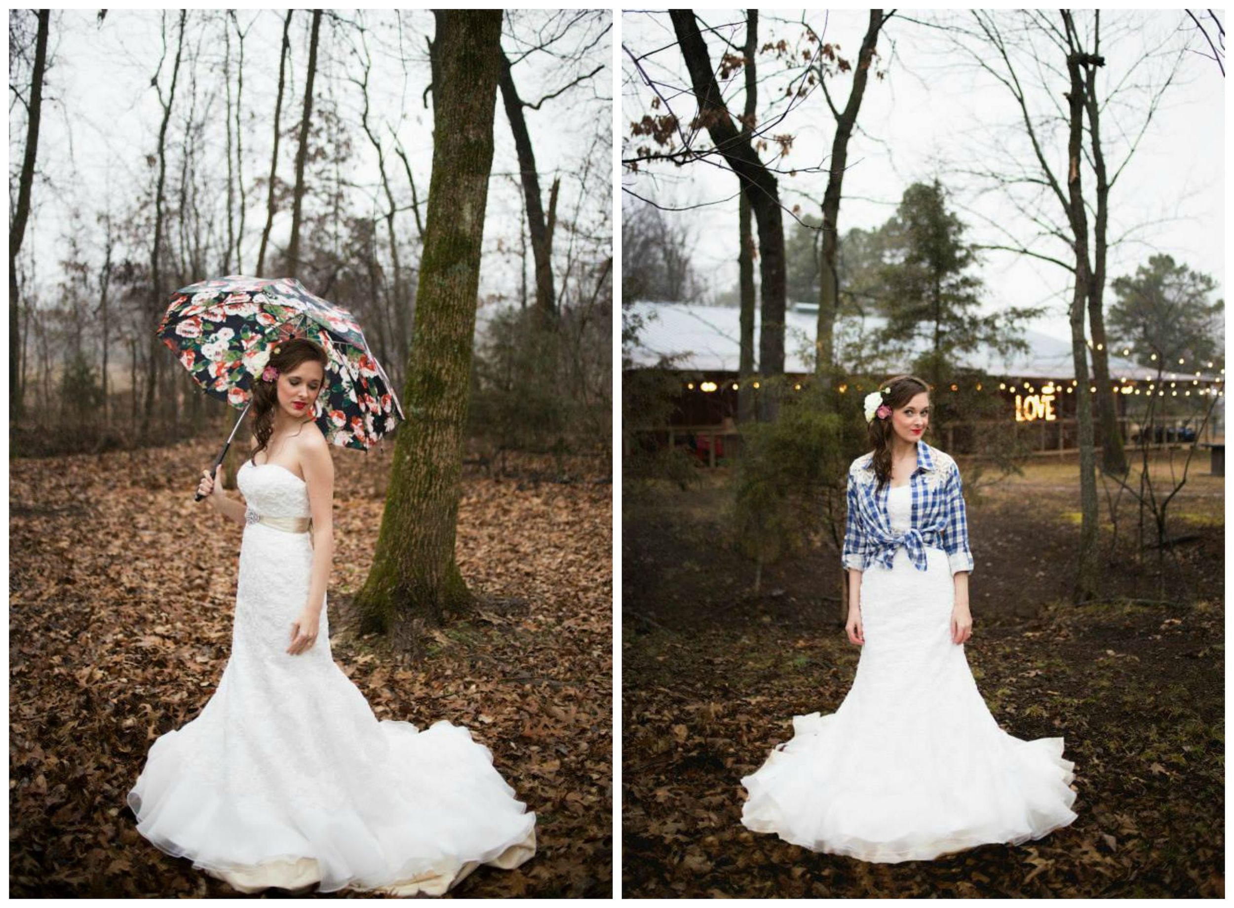 Pictures by Katie , from Kelsey's bridal session. Rainy day bridals can be just as pretty! And accessorizing your dress with plaid is always a good idea.