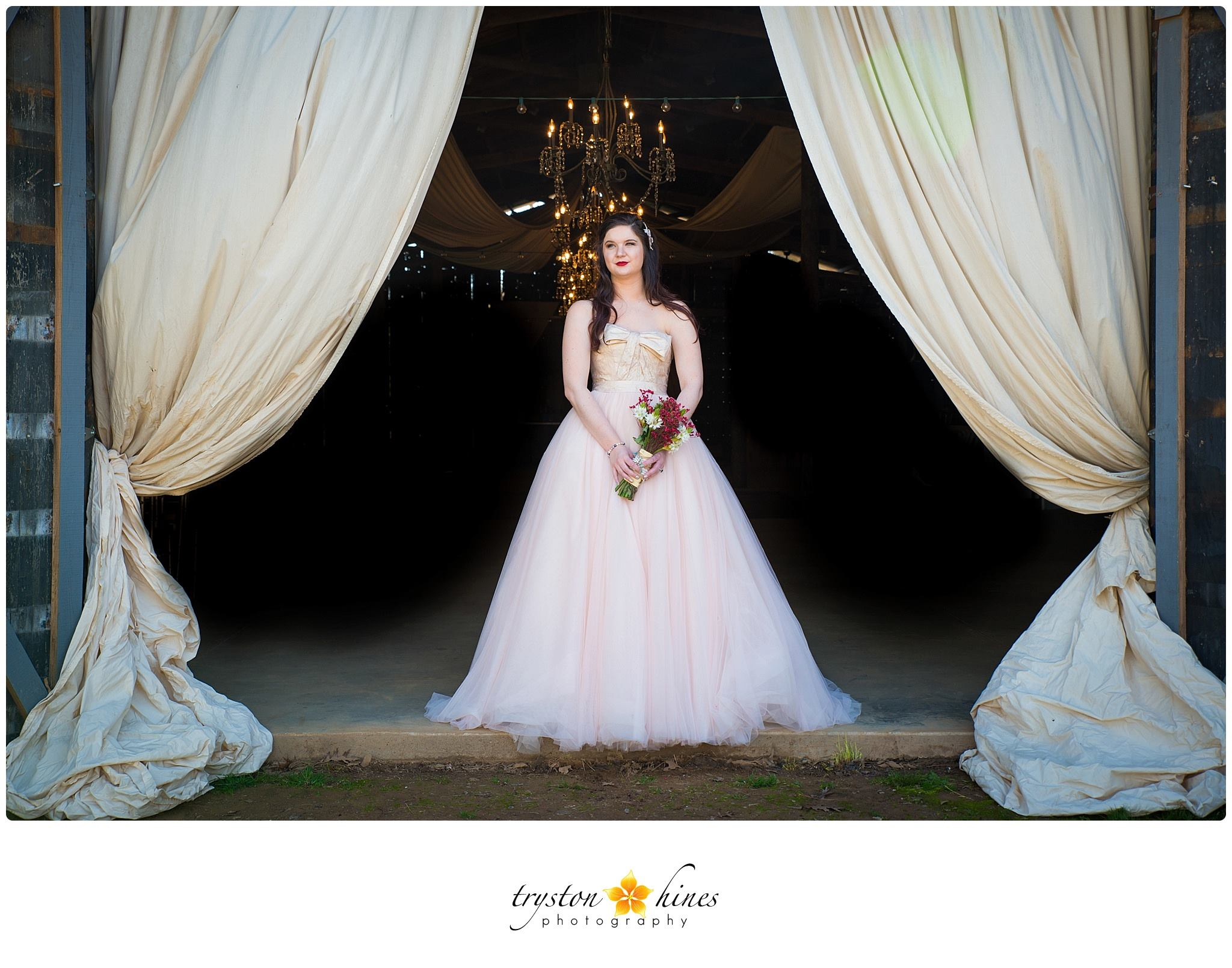 Tryston Hines Photography , from  Katie 's bridals. One of my favorite bridal sessions ever! Katie's stunning blush and ivory gown + the beautiful backdrop of The Barn... too much pretty to handle.