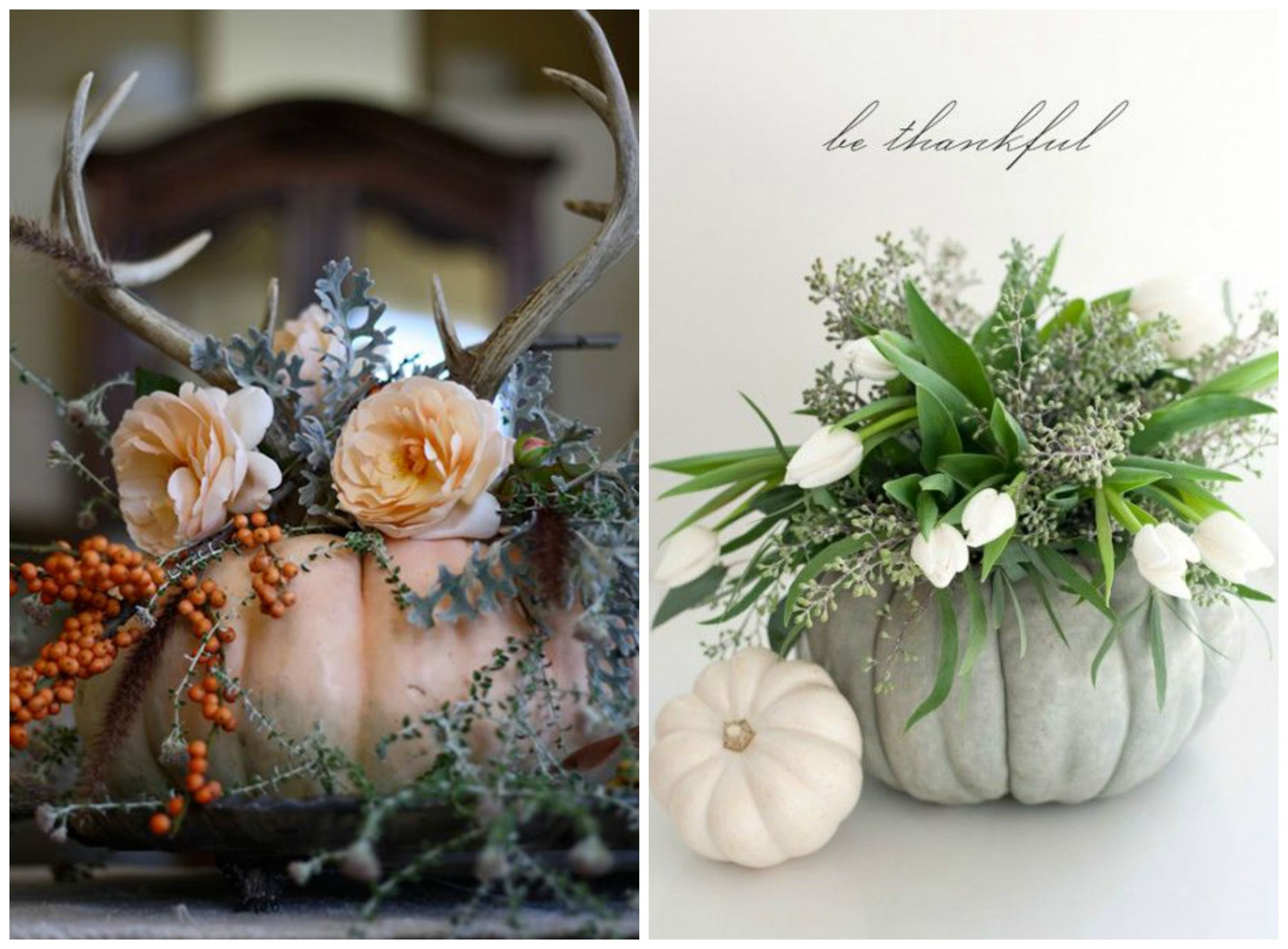 SaveOnCrafts ;  Decorating Your Small Space . Use pumpkins as vases for flower arrangements on your reception tables! Personally, I think this is prettiest when you're using white or painted pumpkins.