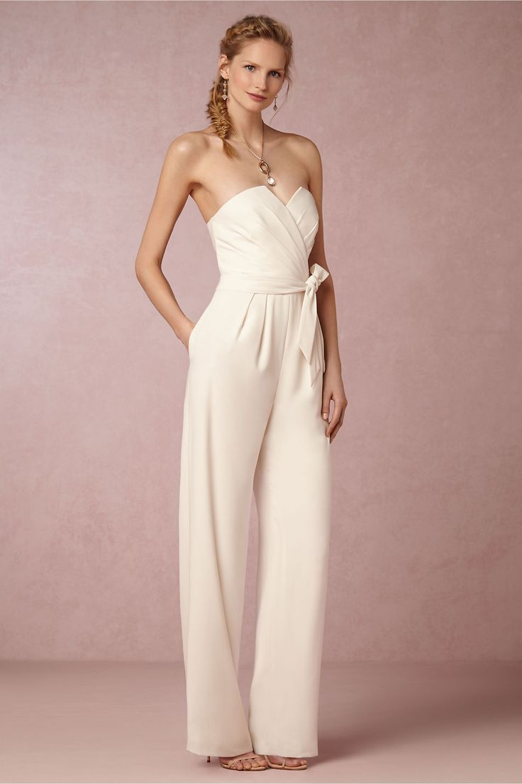 Nobody said a romper must be shorts.  The jumpsuit is merely a romper with long legs :)  Kind of in love with this option for an elopement or a vow renewal!  Gorgeous and so chic! Found this lovely Lola Jumpsuit on  BHLDN .