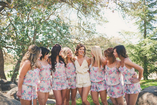 I found these adorable ruffle-top rompers on  weddingchicks.com