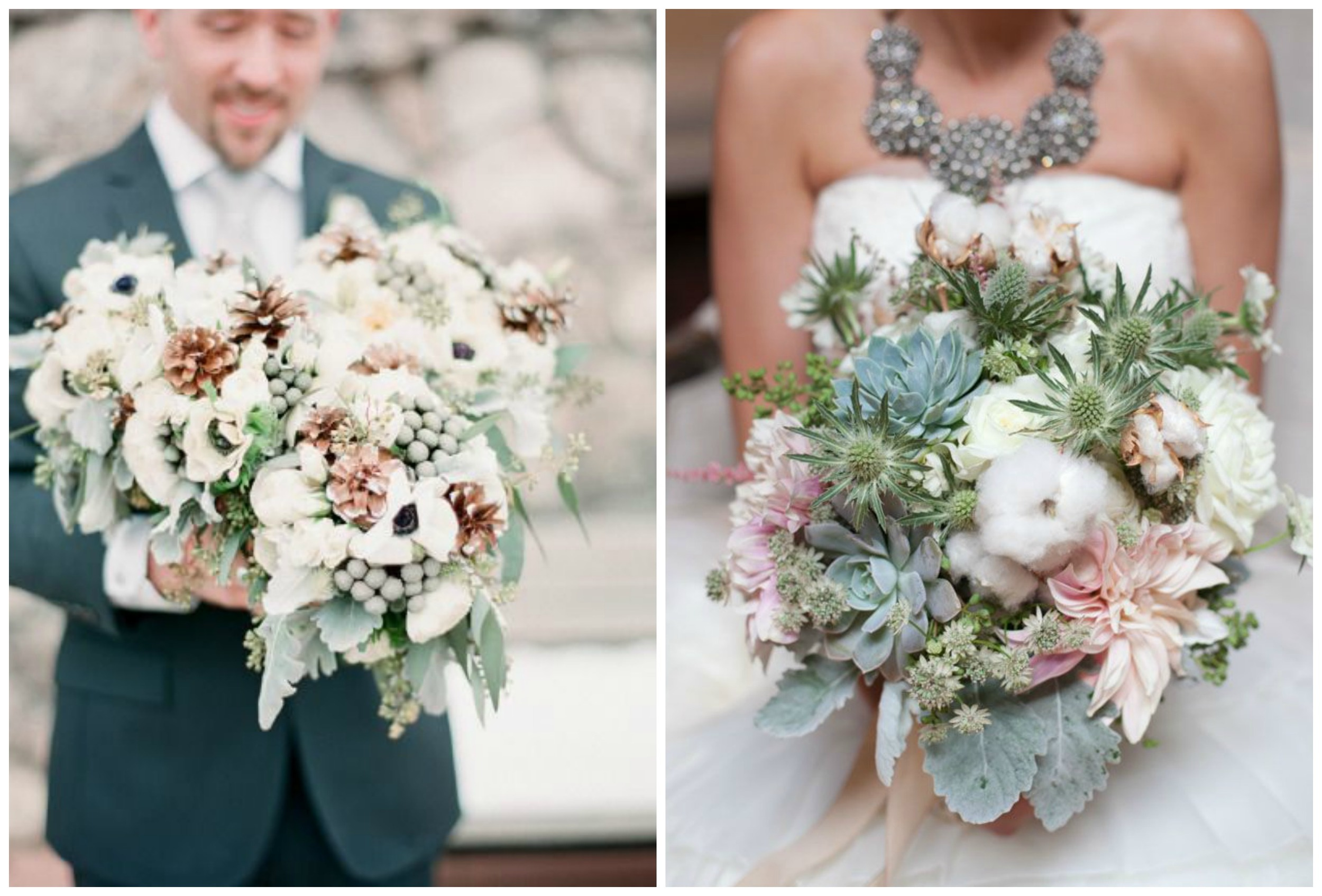 Style Me Pretty ;  Green Wedding Shoes . Pine cones and cotton are especially pretty for fall and winter wedding bouquets!