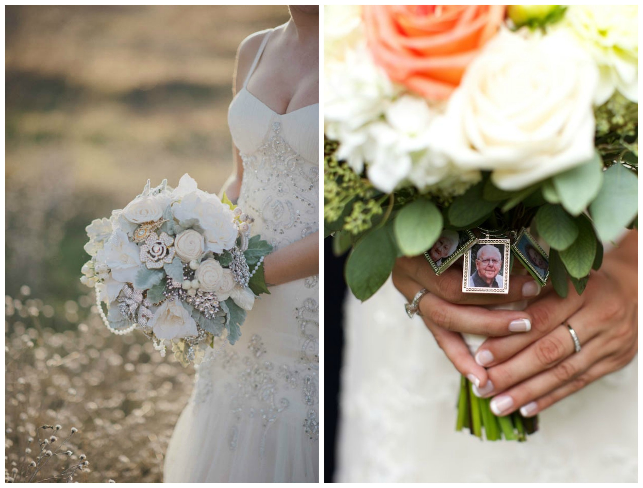 Rock N Roll Bride ;  Bridal Musings . Brooches and photos of loved ones who can't be there on your wedding day... neither of these ideas are new, but they're both a sweet, unique way to add a special family heirloom to your bouquet.