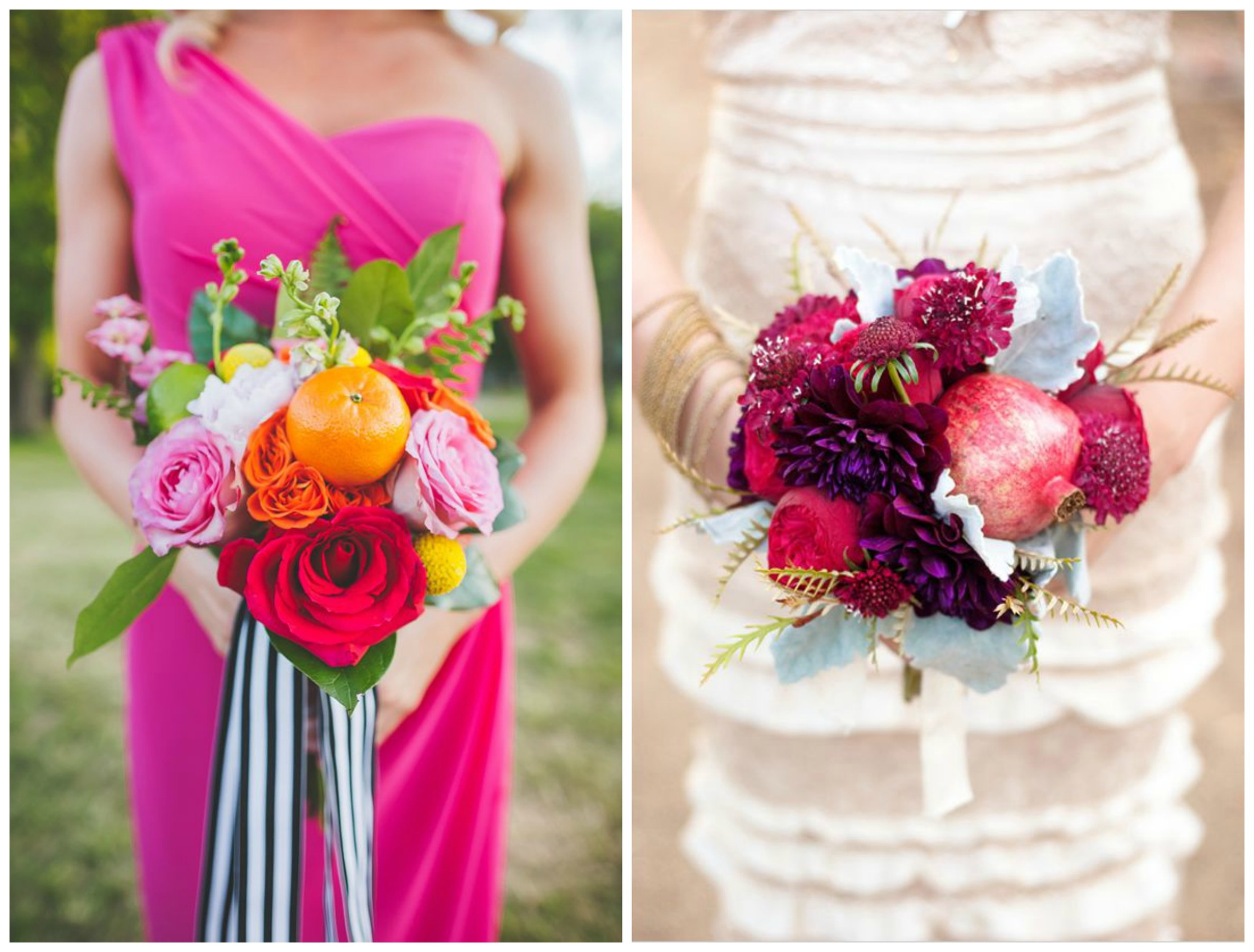 Wedding Chicks ;  Ruffled . Why not include something edible?! These fruity bouquets are extra pretty.