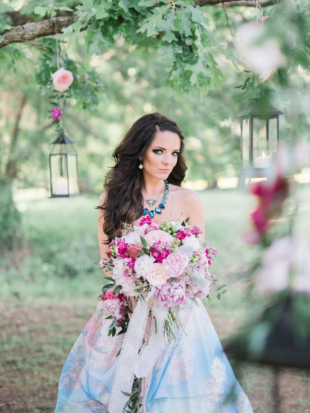 Stephanie Dawn Photography , from our  Magical Meadow Styled Shoot . A printed bridal gown?Yes, please!