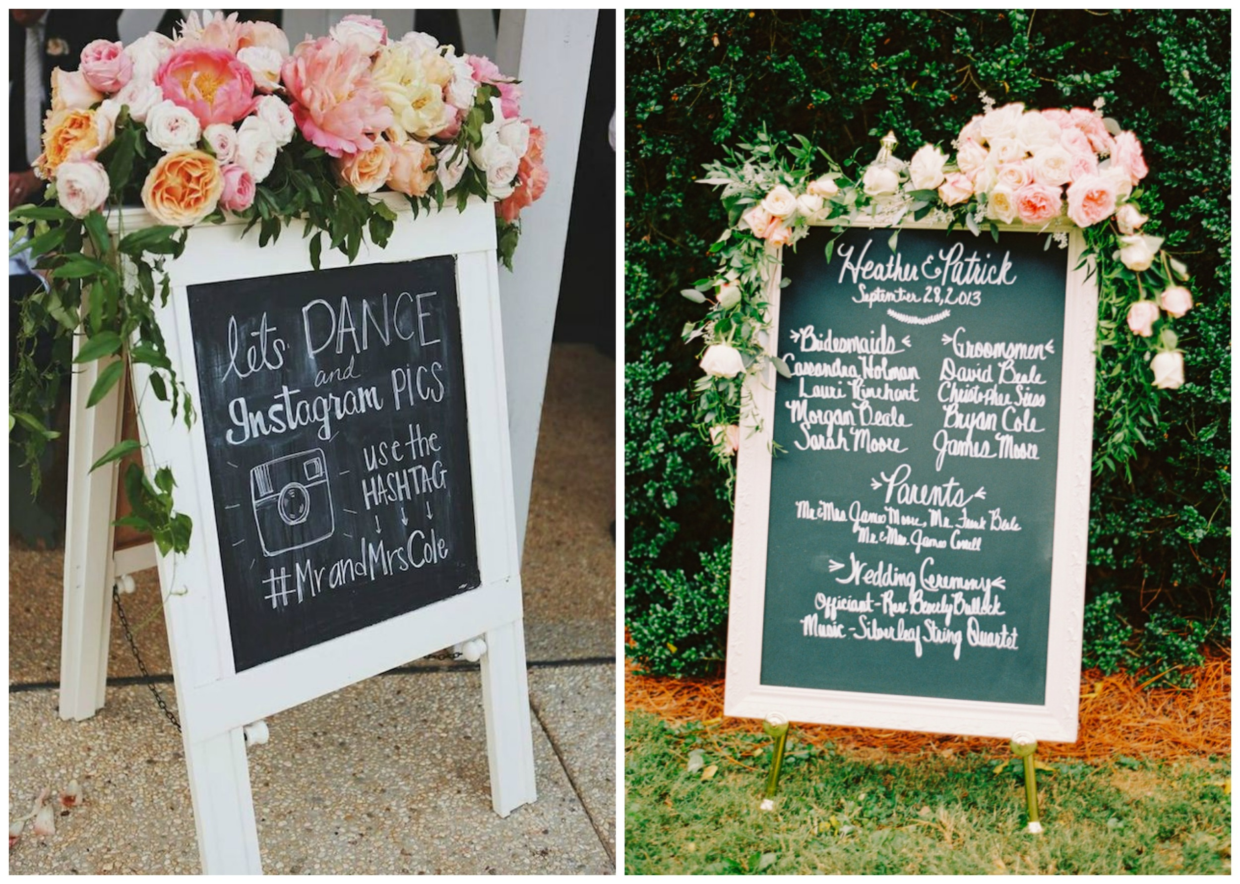 Bridal Musings ;  Style Me Pretty . Amazing florals take pretty signs to a whole new level!