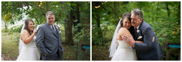 Danielle Davis Art/Photography , from  Ashton + Mickey 's wedding. Ashton and Mickey chose to wait until their ceremony to see each other, but Ashton had the absolute sweetest first look with her dad. I wish I could share all the photos from this moment, buuuuut I don't want to make y'all ugly cry. ;)