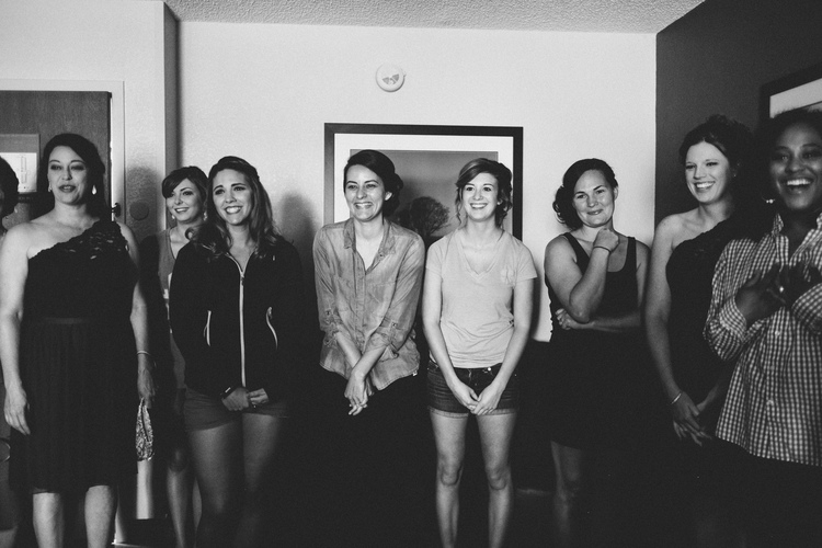 Allison Harp Photography , from  A+J 's wedding. A had a first look with her bridesmaids, and their reactions were priceless!