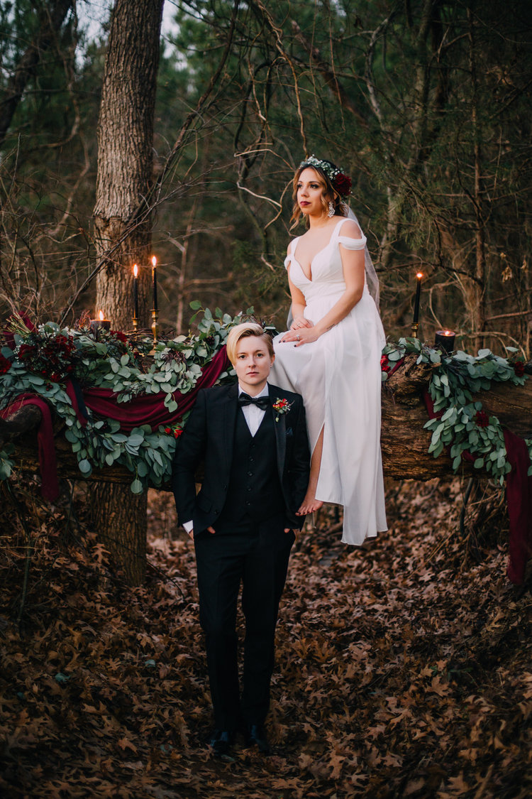 Benjamin Martin Photography , from  Avy + Tisha 's wedding at The Barn. Those black taper candles were the perfect addition to this moody, wintery elopement!