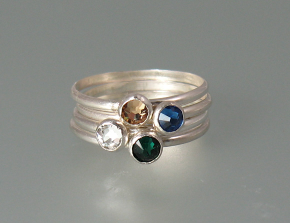 Mother's Stacking Rings with Swarovski Crystals
