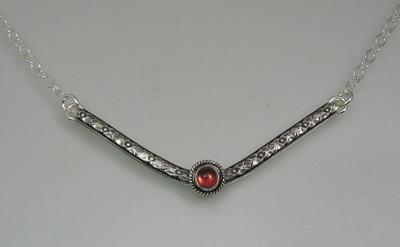 Garnet Chevron Necklace