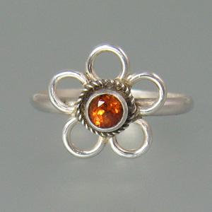 Spessartite Garnet Boho Flower Ring