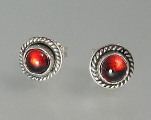 Garnet Button Stud Earrings