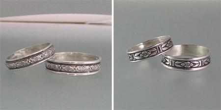 Edwardian Floral Diamond and Renaissance Floral Wedding Bands