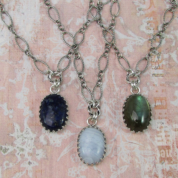 Vintage inspired gemstone pendant necklaces with lapis lazuli, blue lace agate and labradorite