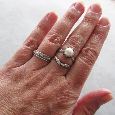 Edwardian Pearl Engagement Ring and Wedding Bands