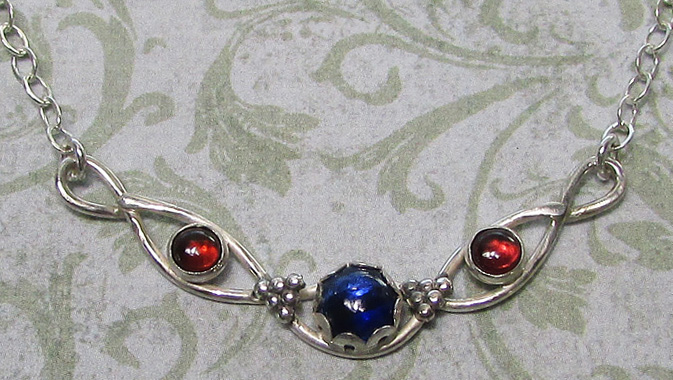 Modern Victorian Kyanite and Garnet Infinity Chevron Necklace