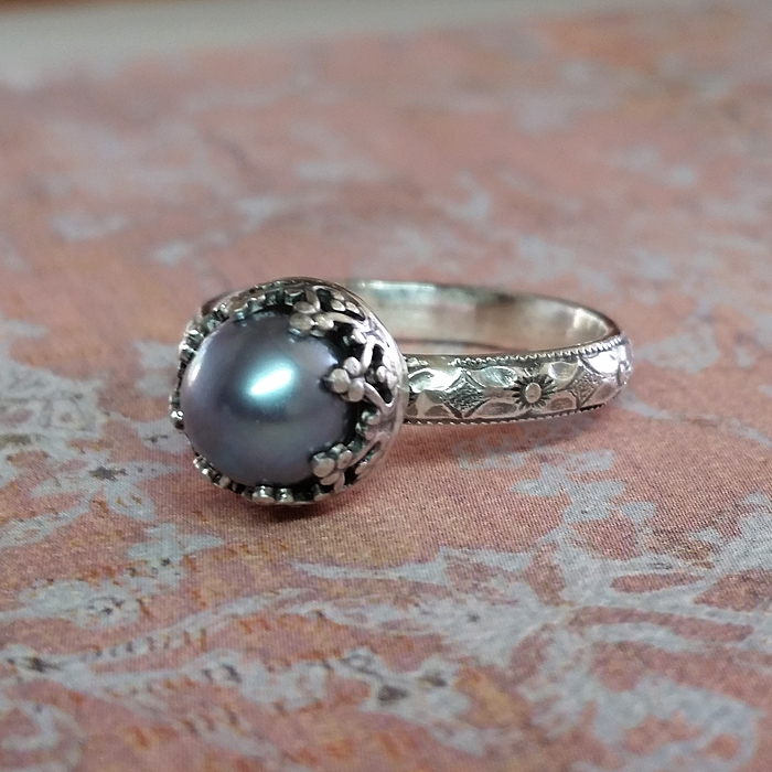 Gray Pearl Edwardian Style Engagement Ring