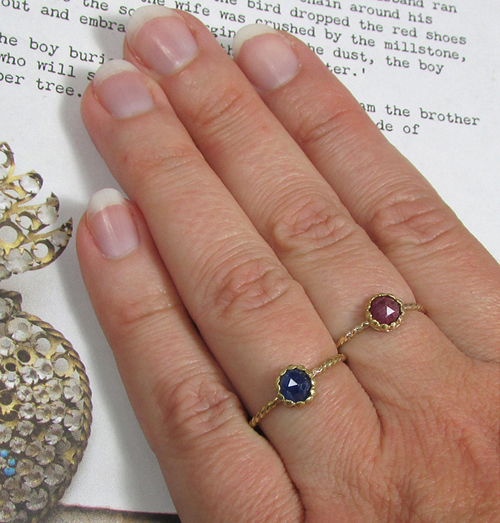 Blue Sapphire and Ruby Rustic Rose Cut Engagement Rings