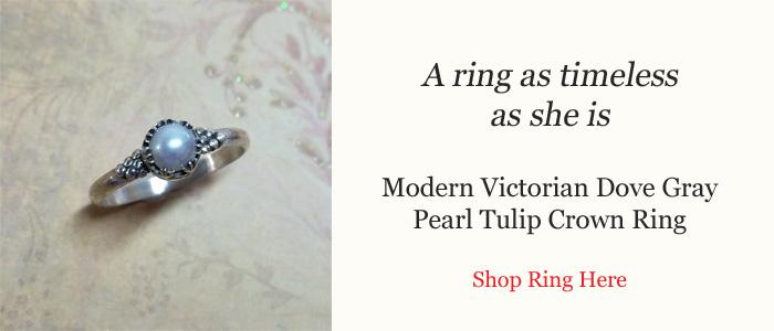 Modern Victorian Dove Gray Pearl Tulip Crown Ring