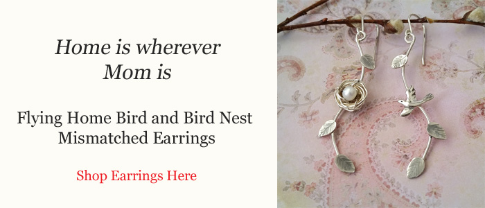 Flying Home Bird and Bird Nest Mismatched Earrings