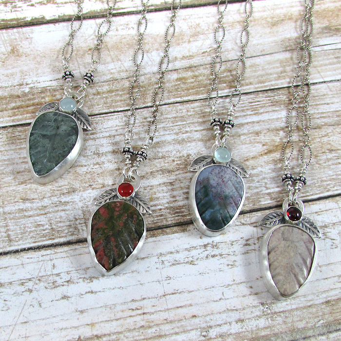 Hand-carved autumn leaf necklaces with agates and unakite