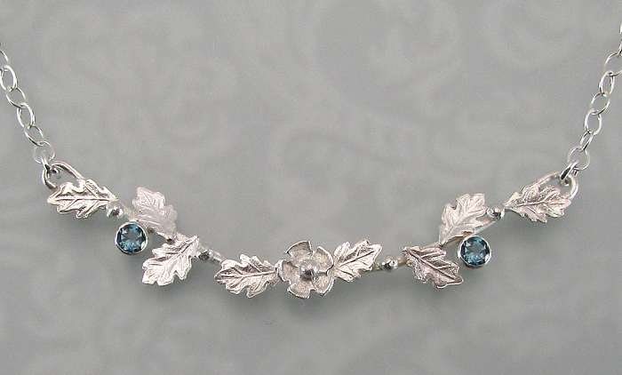Winter garland necklace in sterling silver with London blue topaz