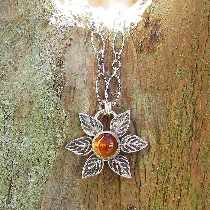 Sunflower Necklace set with Citrine
