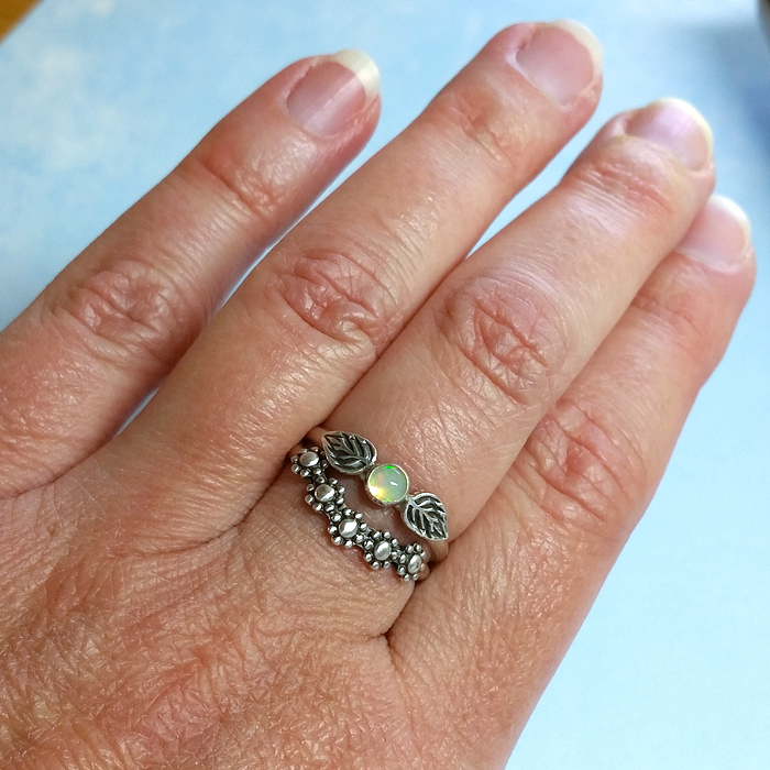 Opal Leaf Ring with Curved Floral Band Stack Set