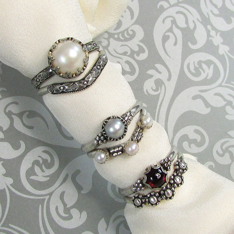 non-traditional unique engagement and wedding band bridal nesting ring sets