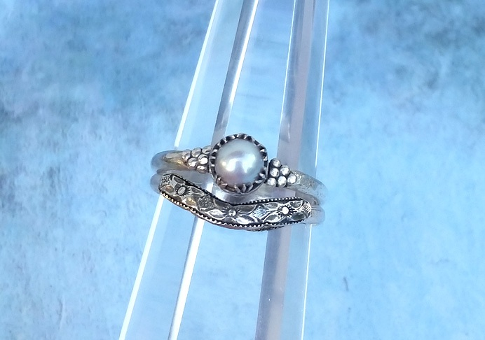 Modern Victorian Dove Gray Pearl Engagement Ring and Edwardian Curved Wedding Band Stacking Set