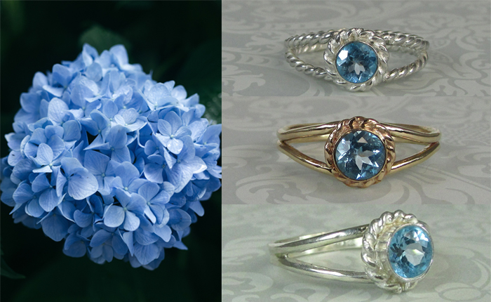 diamond alternative non-traditional Swiss blue topaz engagement rings