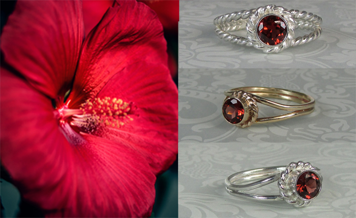diamond alternative non-traditional garnet engagement rings
