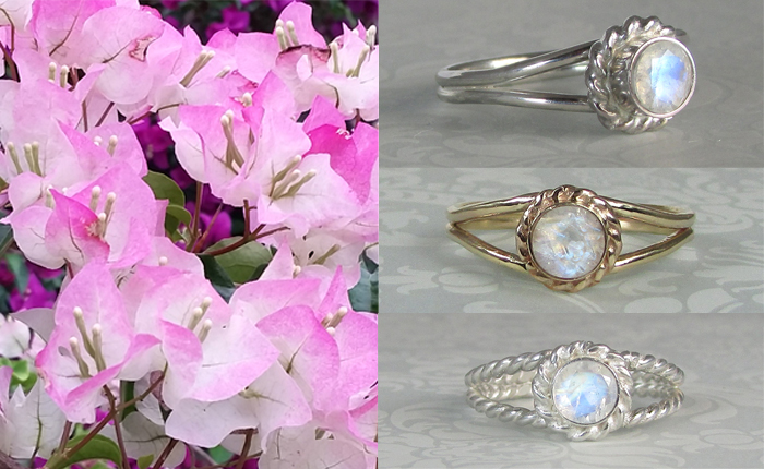 non-traditional rainbow moonstone engagement rings