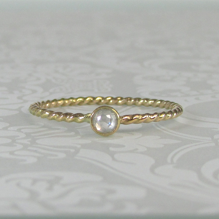 Rose Cut Diamond Starlight Ring in 14kt Gold