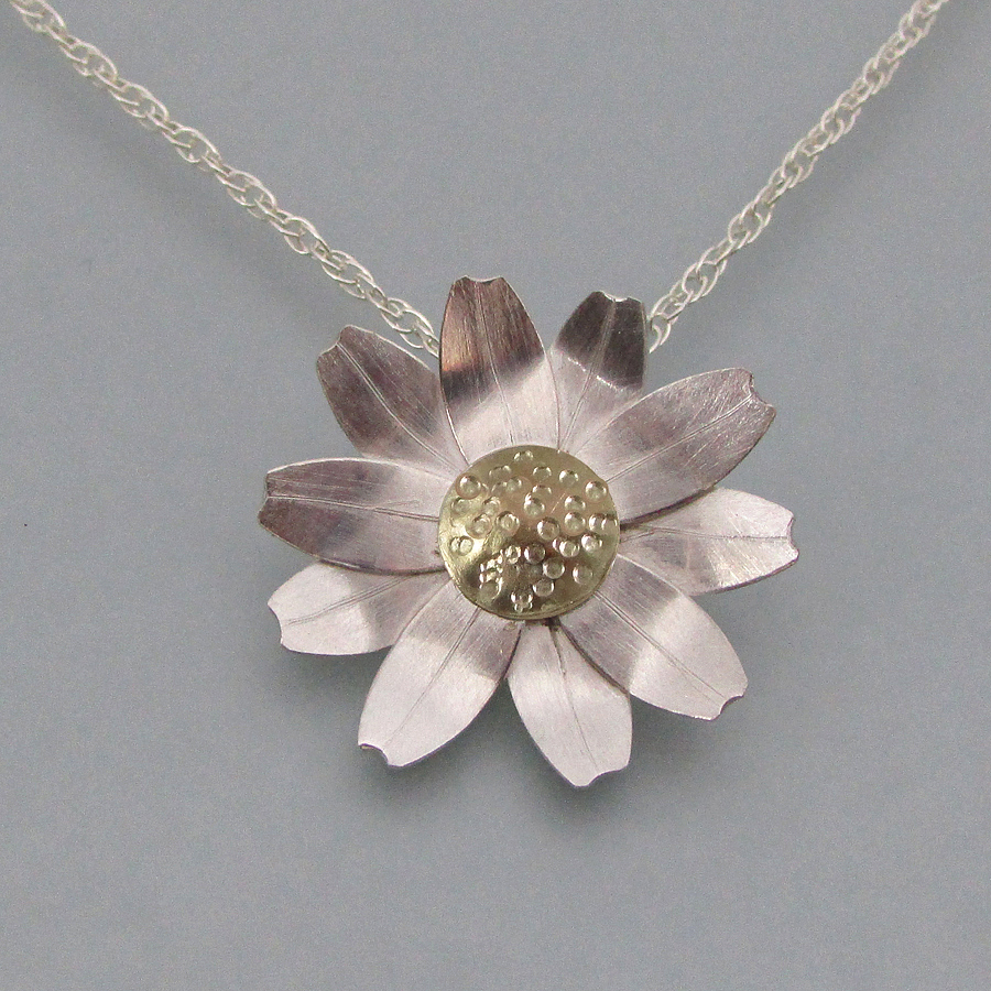Sterling Silver Daisy Necklace with 10kt gold Floret