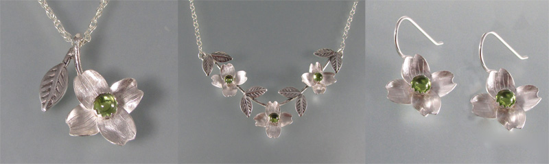 Dogwood Jewelry in Sterling Silver set with Peridot