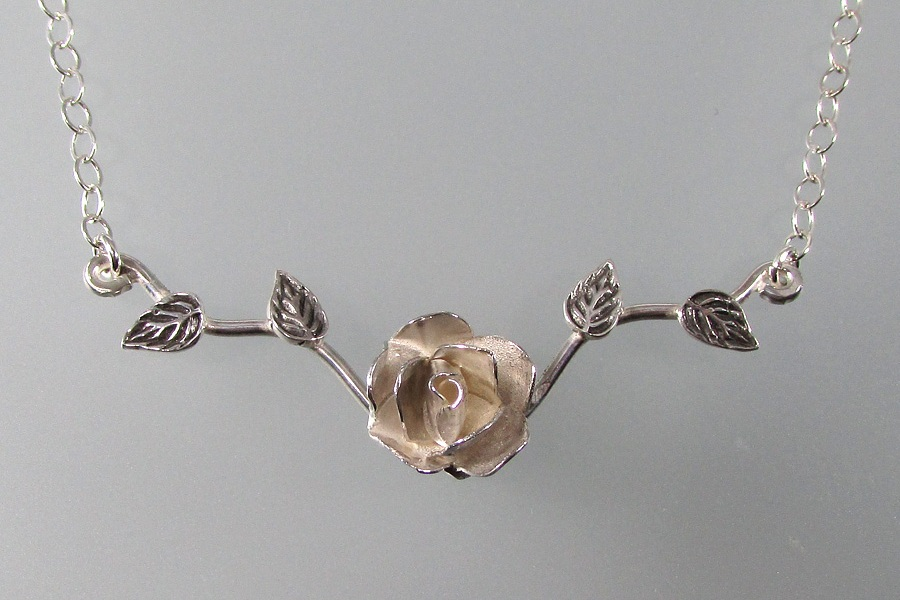 Sterling silver rose branch necklace