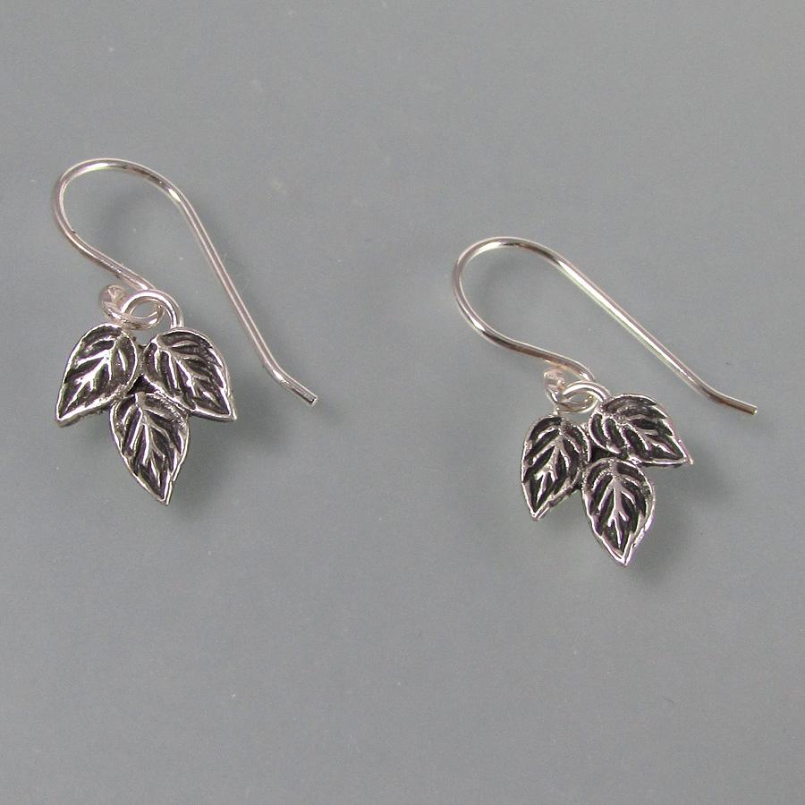 sterling silver rose leaf earrings