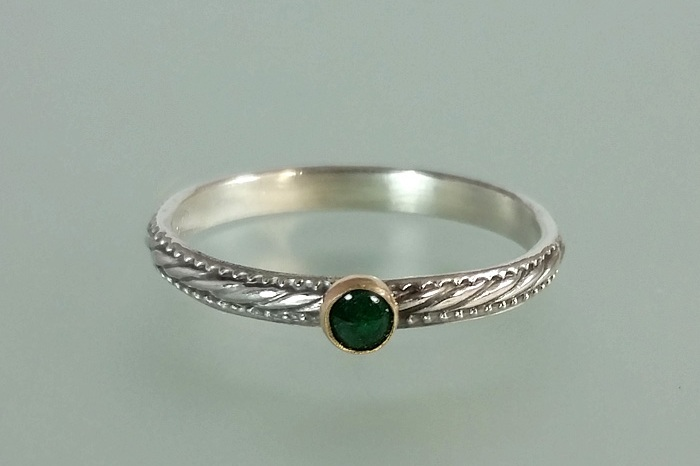 Art Deco Style Emerald Ring in Sterling Silver with 14kt Gold Bezel