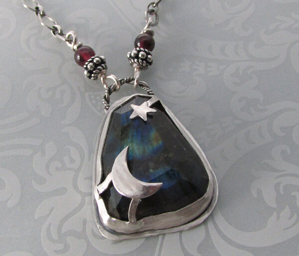 Crescent Moon and Star Labradorite Necklace