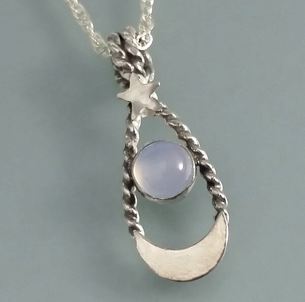 "Moon and star blue chalcedony necklace - ""Blue Moon Rising"""
