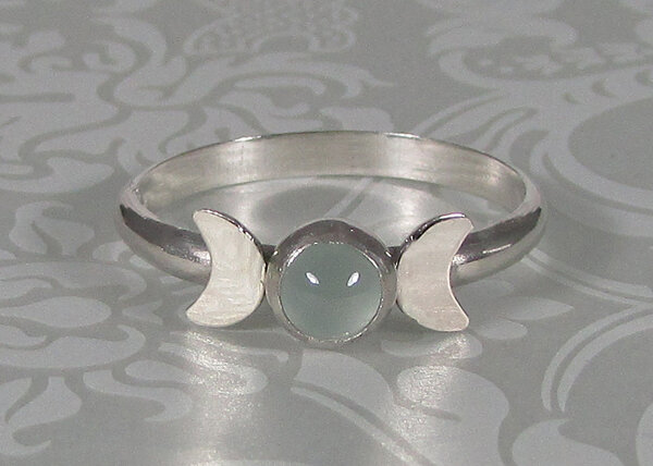 Triple Moon Goddess Ring with Aquamarine