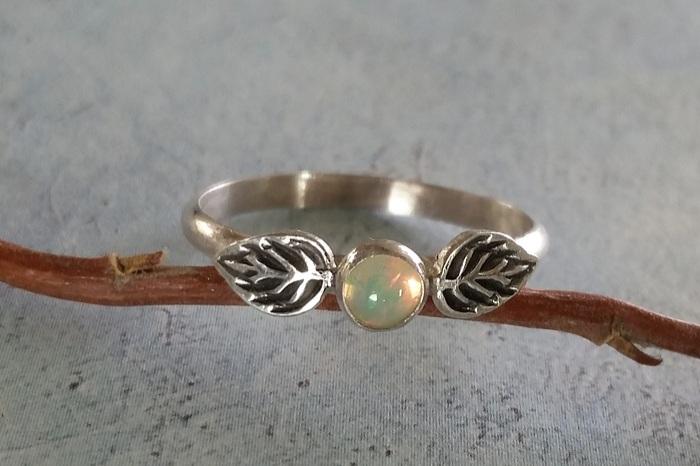 opal leaf ring in sterling silver