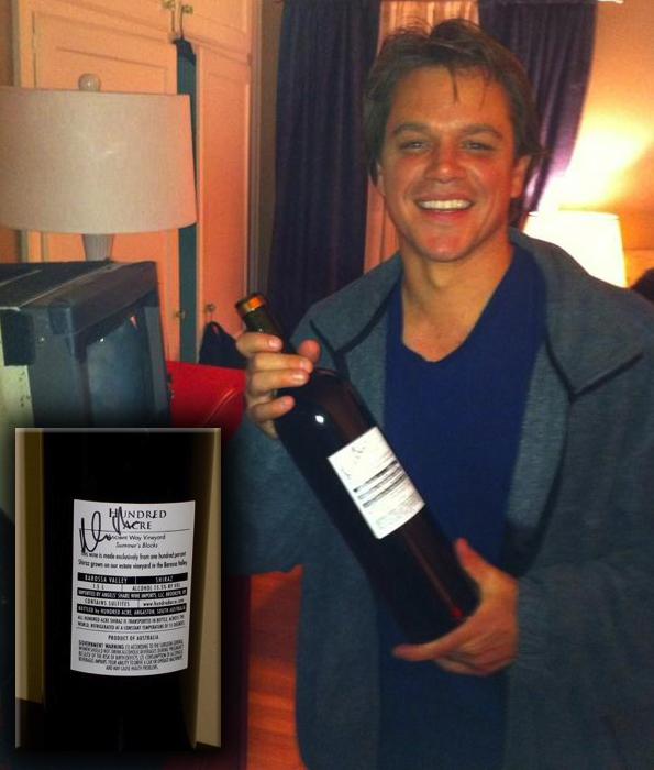 Autographed Hundred Acre magnum with Matt Damon - sold for charity