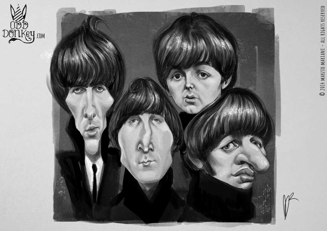 The Beatles - Caricature by Marzio Mariani
