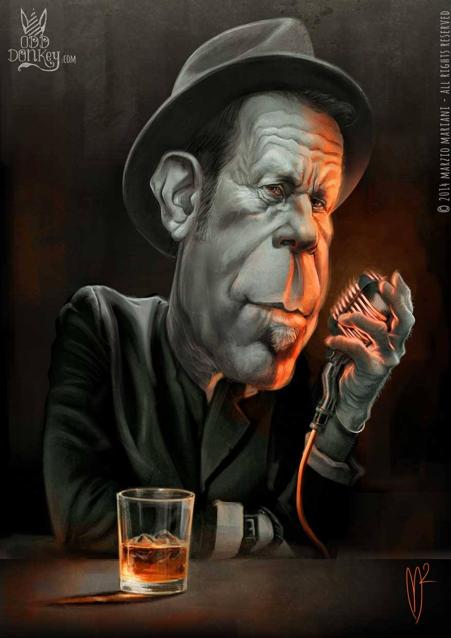 Caricature of Tom Waits by Marzio Mariani (All Rights Reserved)