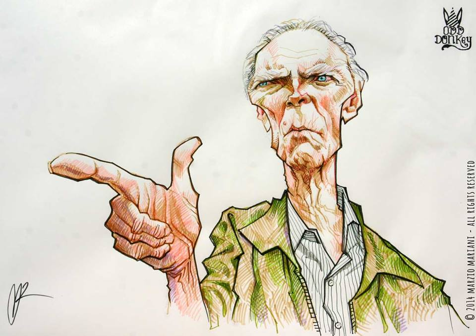 Clint Eastwood Caricature by Marzio Mariani (All Rights Reserved)