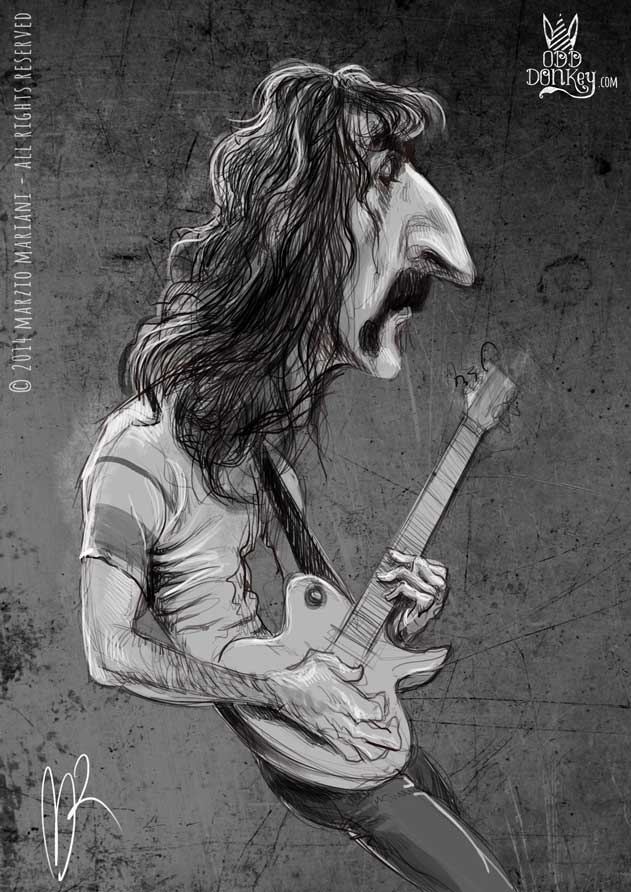 Frank Zappa caricature by Marzio Mariani (All Rights Reserved)